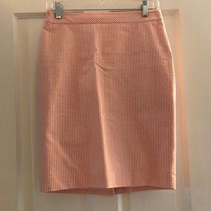 Pink and White Seersucker Ann Taylor Pencil Skirt